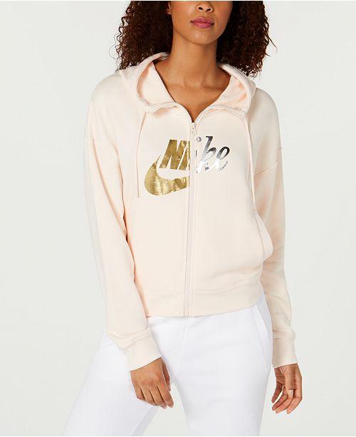 182fa02cf0b7 Nike Sportswear Rally Metallic-Logo Zip Hoodie   Reviews - Tops ...