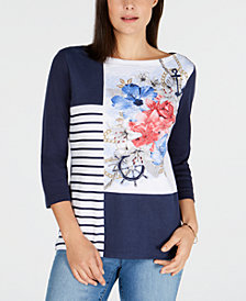 Karen Scott Embellished Mixed-Print T-Shirt, Created for Macy's