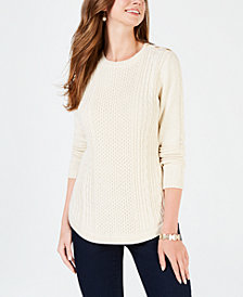 Charter Club Cable-Detail Sweater, Created for Macy's