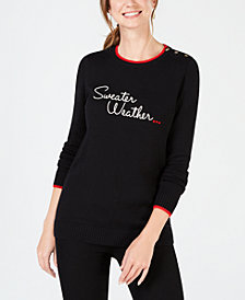 Charter Club Embroidered Statement Sweater, Created for Macy's