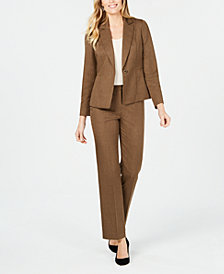 Le Suit Petite One-Button Peak Lapel Pant Suit