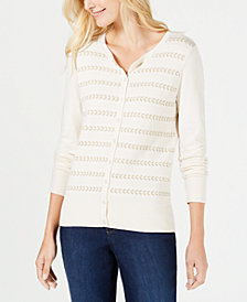 Charter Club Lurex-Stripe Cardigan, Created for Macy's