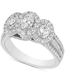 Diamond Oval Triple Halo Ring (1-1/2 ct. t.w.) in 14k White Gold