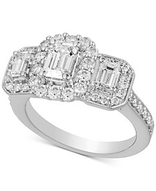 Diamond Triple Stone Halo Engagement Ring (2 ct. t.w.) in 14k White Gold