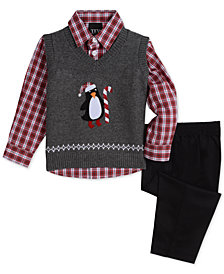 TFW Baby Boys 3-Pc. Penguin Sweater Vest, Plaid Shirt & Pants Set