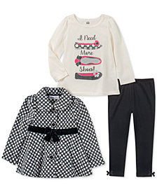 Kids Headquarters Baby Girls 3-Pc. Printed Jacket, Shoes-Print T-Shirt & Leggings Set