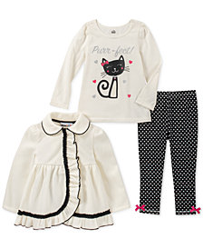 Kids Headquarters Baby Girls 3-Pc. Ruffle Jacket, Cat-Print T-Shirt & Leggings Set