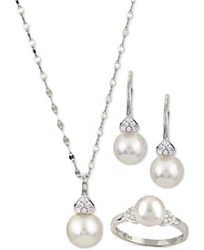 Cultured Akoya Pearl & Diamond Accent Jewelry Collection in 14k White Gold