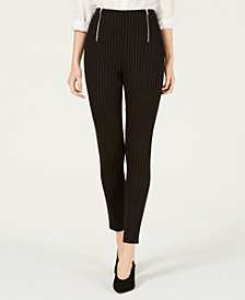 Almost Famous Juniors' Striped Double-Zipper Leggings