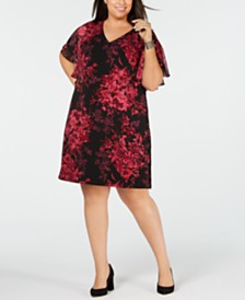 Connected Plus Size Flutter-Sleeve Floral Dress