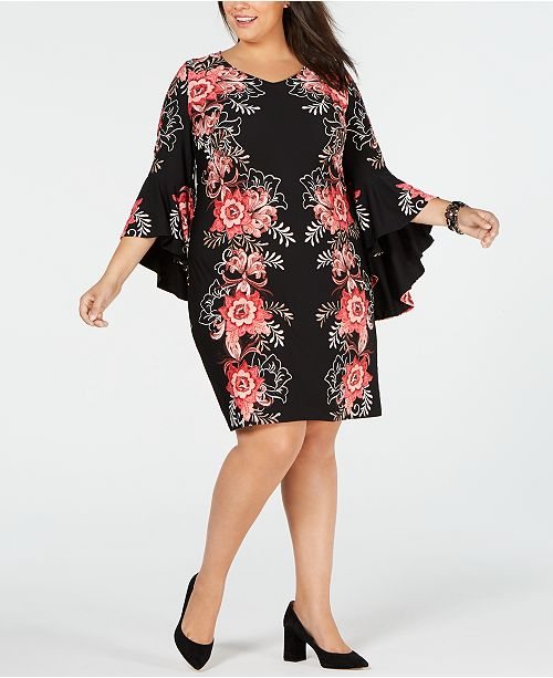 MSK Plus Size Printed Bell-Sleeve Shift Dress & Reviews ...