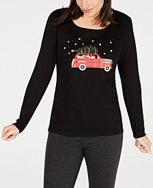 Karen Scott Petite Dog Graphic-Print T-Shirt, Created for Macy's