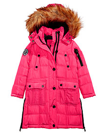 DKNY Toddler Girls Hooded Jacket With Removable Faux-Fur Trim