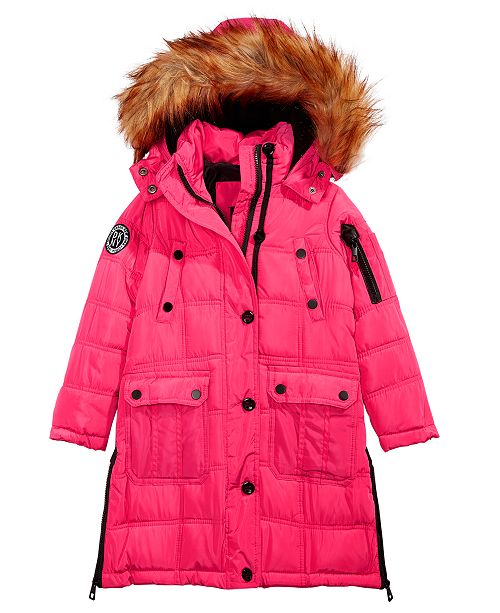 b1ab26624 DKNY Toddler Girls Hooded Jacket With Removable Faux-Fur Trim ...