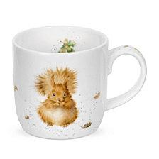 "Portmeirion  Wrendale 11 oz. Squirrel Mug ""Treetops Redhead"" - Set of 6"