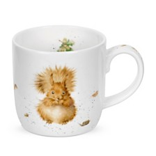 "Royal Worcester   Wrendale 11 oz. Squirrel Mug ""Treetops Redhead"" - Set of 6"
