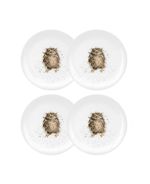 "Royal Worcester Wrendale Owl Plate ""What a Hoot"" - Set of 4"