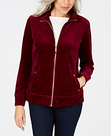 Karen Scott Velour Zip-Up Jacket, Created for Macy's