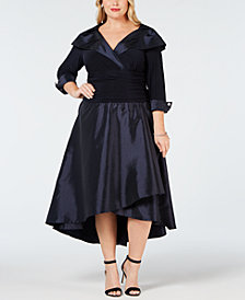 R & M Richards Plus Size Portrait-Collar Dress