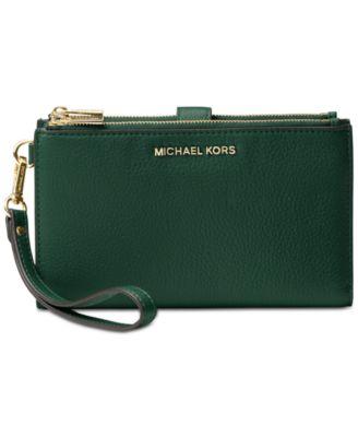 michael kors adele double zip pebble leather phone wristlet rh macys com
