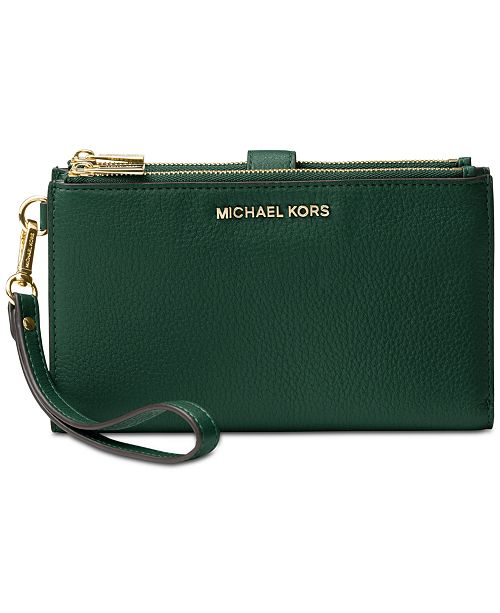 2142f23fe82e Michael Kors Adele Double-Zip Pebble Leather Phone Wristlet ...