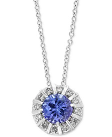 "EFFY® Tanzanite (5/8 ct. t.w) & Diamond (1/4 ct. t.w) 18"" Pendant Necklace in 14K White Gold"