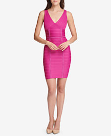 GUESS V-Neck Sleeveless Bandage Dress