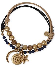 Lucky Brand Two-Tone 2-Pc. Set Pavé & Stone Beaded Leather Stretch Bracelets