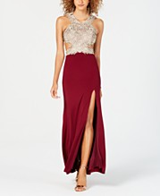 cf436cce21514 Dear Moon Juniors' Embroidered Cutout Gown