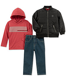 Calvin Klein Toddler Boys 3-Pc. Hoodie, Bomber Jacket & Jeans Set