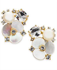 kate spade new york Gold-Tone Crystal & Imitation Mother-of-Pearl Flower Stud Earrings