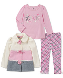 Kids Headquarters Little Girls 3-Pc. Colorblocked Fleece Jacket, T-Shirt & Leggings Set