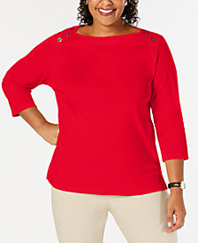 Karen Scott Button Shoulder Knit Top, Created for Macy's