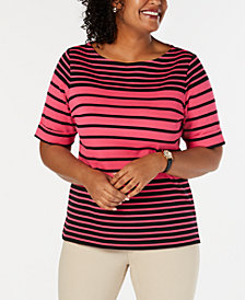 Karen Scott Plus Size Striped Top, Created for Macy's
