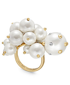 kate spade new york Gold-Tone Pavé & Imitation Pearl Cluster Statement Ring