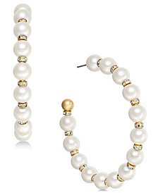 kate spade new york Gold-Tone Pavé Bead & Imitation Pearl Hoop Earrings