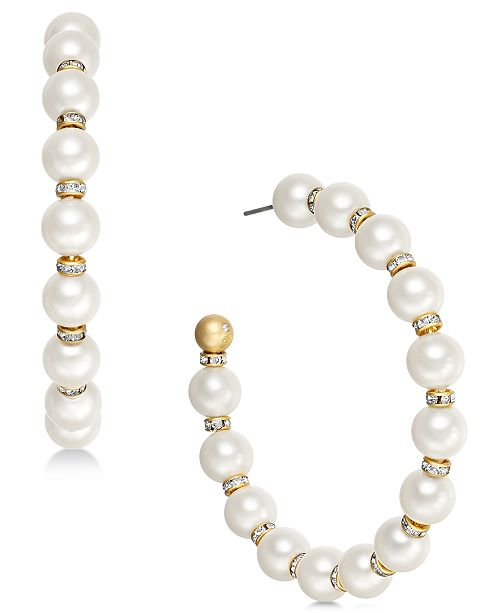 kate spade new york Gold-Tone Pavé Bead & Imitation Pearl Hoop Earrings