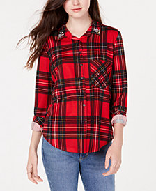 PROJECT 28 NYC Juniors' Embellished Plaid Button-Up Shirt