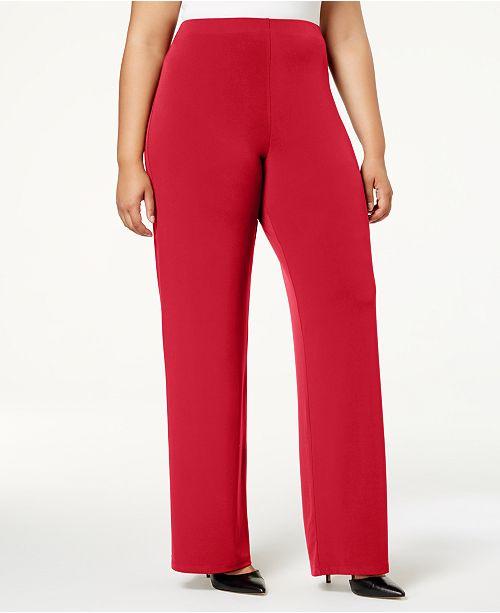 Alfani Plus & Petite Plus Size Knit Wide-Leg Pant, Created for Macy\'s ...