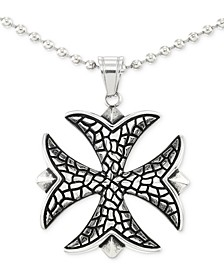 "Celtic Cross 24"" Pendant Necklace in Stainless Steel"