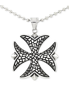 "LEGACY for MEN by Simone I. Smith Celtic Cross 24"" Pendant Necklace in Stainless Steel"