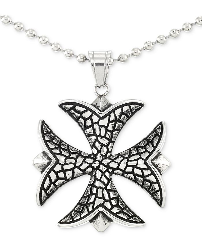 """LEGACY for MEN by Simone I. Smith - Celtic Cross 24"""" Pendant Necklace in Stainless Steel"""