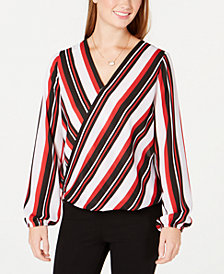 BCX Juniors' Striped Surplice-Neck Top