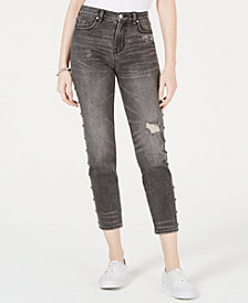 Kendall + Kylie Cotton The Icon Studded Ripped Jeans