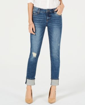 KUT FROM THE KLOTH Catherine Wide Cuff Boyfriend Jeans in Palpable