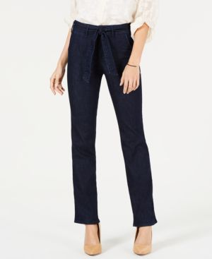 Tummy-Control Belted Marilyn Trouser Jeans in Rinse