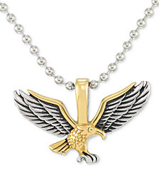 "LEGACY for MEN by Simone I. Smith Two-Tone Eagle 24"" Pendant Necklace in Stainless Steel & Yellow and Black Ion-Plate"