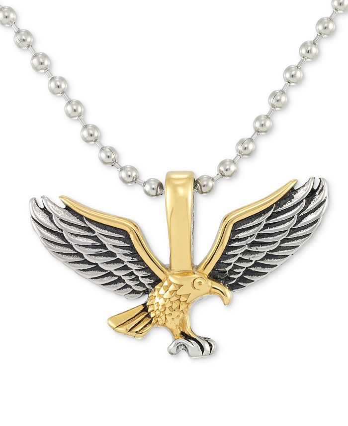 """LEGACY for MEN by Simone I. Smith - Two-Tone Eagle 24"""" Pendant Necklace in Stainless Steel & Yellow and Black Ion-Plate"""