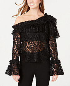 XOXO Juniors' Lace One-Shoulder Top
