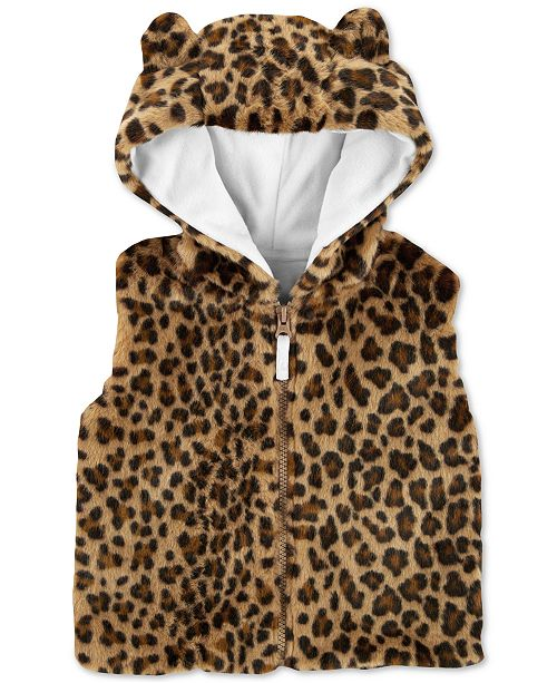 782a681095ac Carter s Toddler Girls Faux-Fur Cheetah-Print Hooded Vest   Reviews ...